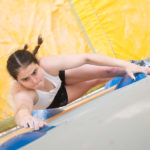 Emily Phillips climbing at the British Bouldering Championships