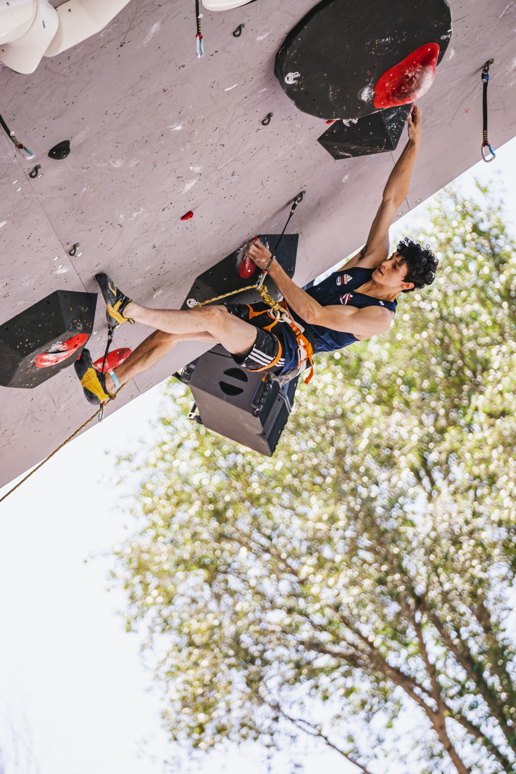 Hamish McArthur at the IFSC Lead World Cup in Briancon