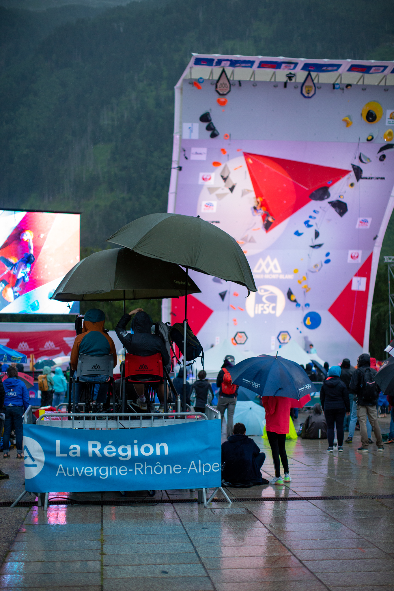 Umbrellas at the IFSC Lead World Cup in Chamonix