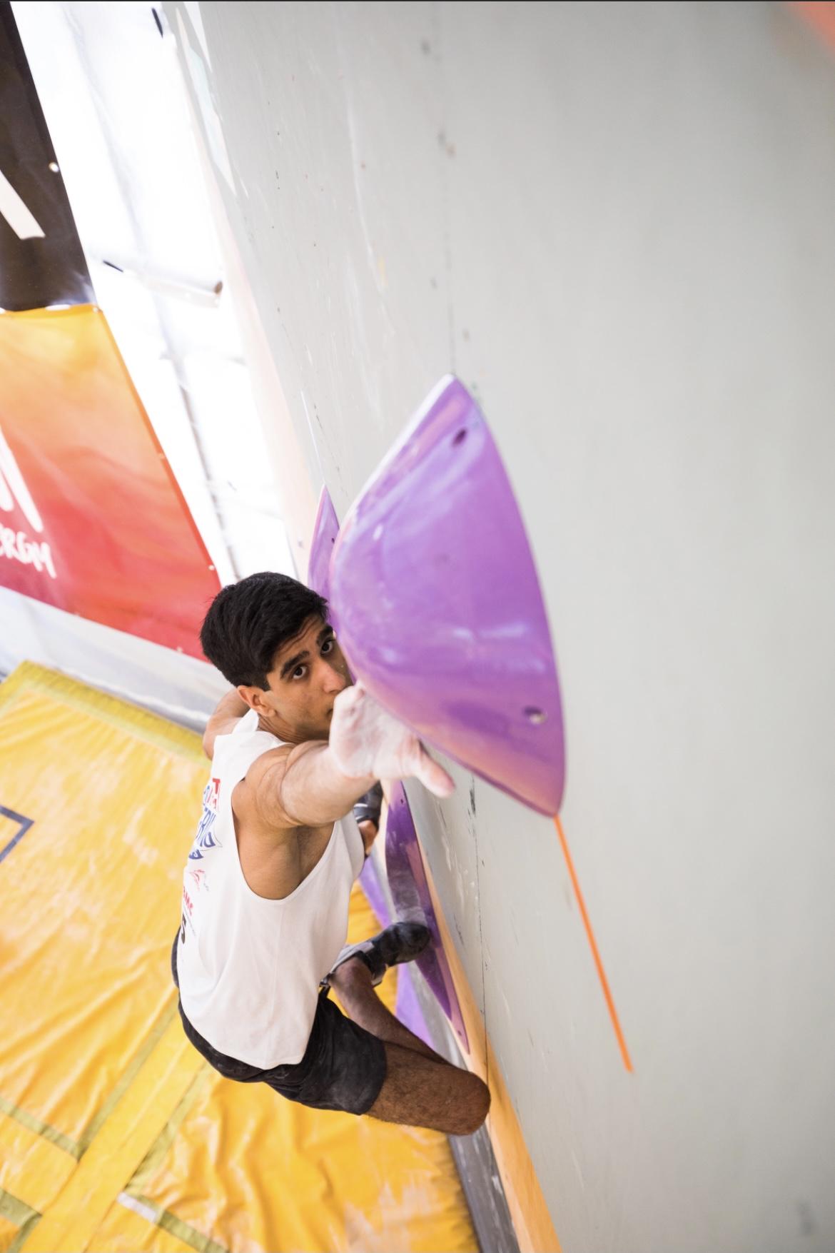 Dayan Akhtar at the British Bouldering Championships 2021