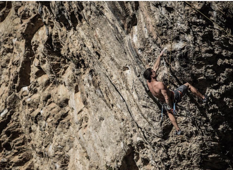 Tom Bolger climbing 'Non Stop' 8b at Paret de les Bruixes