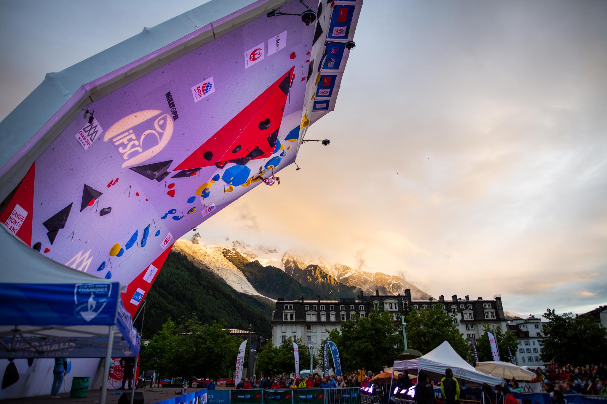 Vita Lukan climbing at the IFSC Lead World Cup in Chamonix 2021